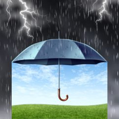 Insurance protection concept with a black umbrella covering and protecting from a dark dangerous thunder rain storm with lightning and under is a peaceful safe summer landscape with green grass and a blue sky.